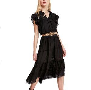 Free People Midnight Magic Midi Black Dress L